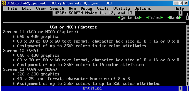 Quick Basic VGA繪圖模式 SCREEN 12